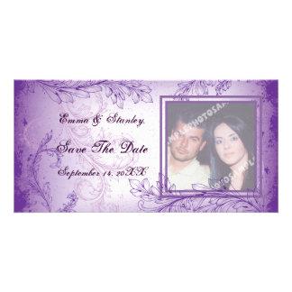 Het vintage lila paarse huwelijk van het rolblad kaart