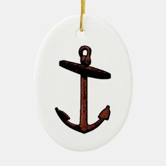 Het vintage Logo van het Anker van het Schip Keramisch Ovaal Ornament