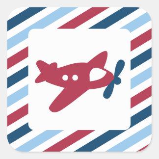 Het vintage Luchtpost van het Vliegtuig Vierkant Stickers