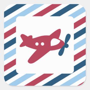 Het vintage Luchtpost van het Vliegtuig Vierkante Sticker