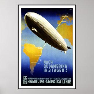 Het vintage Luchtschip van Hamburg Amercia van de Poster
