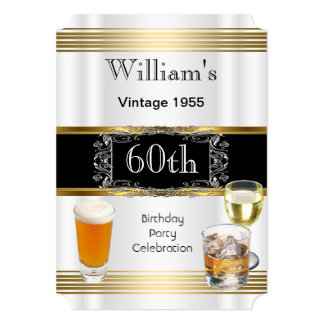 Het vintage Mannen 60ste Bier van de Partij van de 12,7x17,8 Uitnodiging Kaart