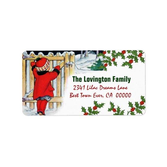 Het vintage Meisje en de Hulst van Kerstmis Addressticker