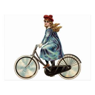 Het vintage meisje van de Fiets Briefkaart