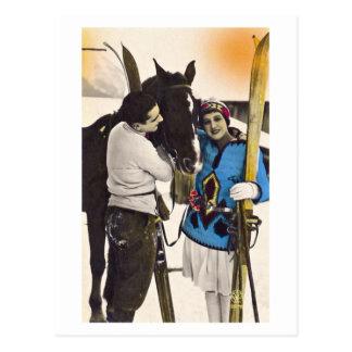 Het vintage Meisje van de Glamour - het Ski?en & Briefkaart