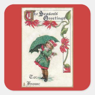 Het vintage Meisje van de Groeten van het Seizoen Vierkante Sticker