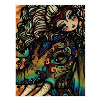 Het vintage Meisje van de Kunst van de Fantasie Briefkaart