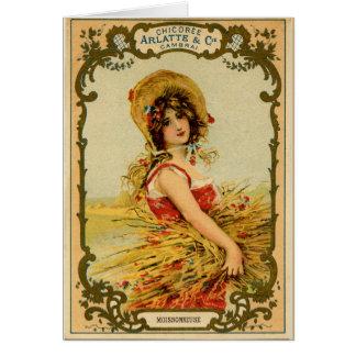 Het vintage Meisje van de Oogst Briefkaarten 0