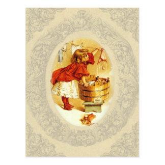 Het vintage Meisje van de Wasserij Briefkaart
