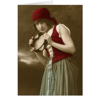 Het vintage meisje van de zigeuner kaart