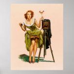 Het vintage meisje van Pinup van de Camera Plaat