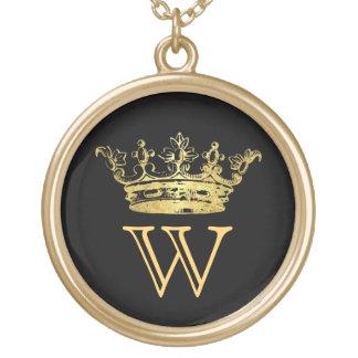 Het vintage Monogram van de Kroon Goud Vergulden Ketting