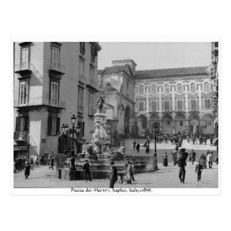 Het vintage monument van Napels Italië - Piazza Briefkaart