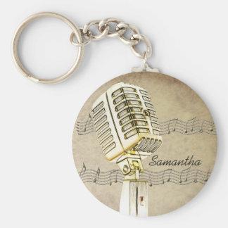 Het vintage Ontwerp Keychain van de Microfoon Basic Ronde Button Sleutelhanger