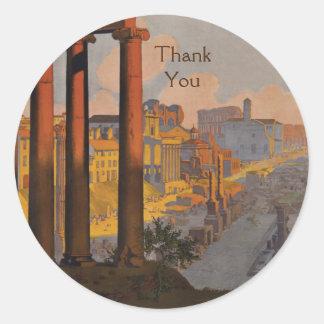 Het vintage Ontwerp van de Reis met het Roman Ronde Sticker