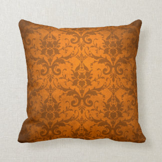 Het vintage Oranje Behang van het Damast Sierkussen