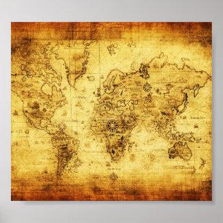 Het vintage oude poster van de wereldkaart