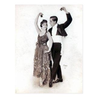 Het vintage Paar van het Flamenco met Castagneten Briefkaart
