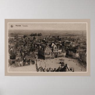 Het vintage Panorama van Mechelen Malines Poster