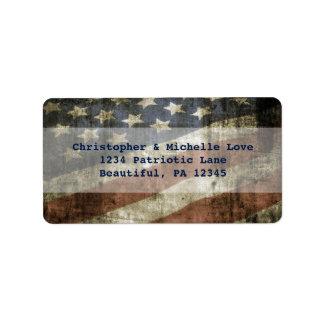 Het vintage Patriottische Adres van de Vlag van Etiket