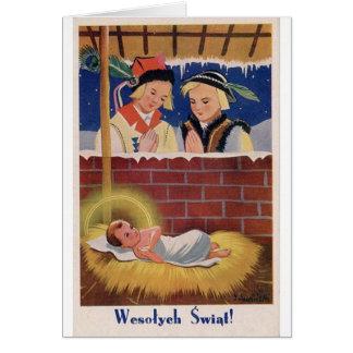 Het vintage Poolse Retro Art. van Kerstmis van Kaart