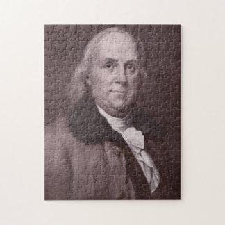 Het vintage Portret van Benjamin Franklin Puzzel