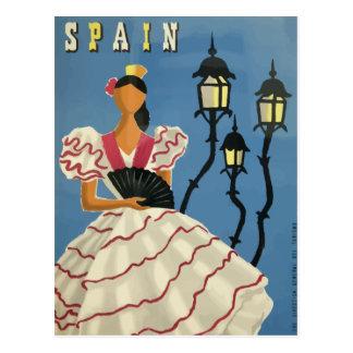 Het vintage poster Spanje van het reisbriefkaart Briefkaart