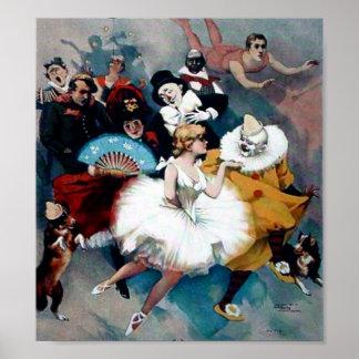 Het vintage poster van de Clown van de Ballerina v