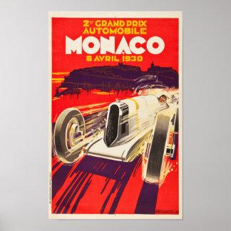 Het vintage Poster van de Grand Prix van Monaco