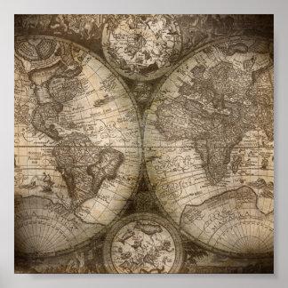 Het vintage Poster van de Kaart van de Atlas van
