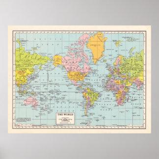 Het vintage Poster van de Kaart van de Wereld