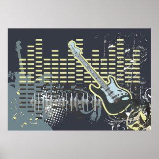 Het vintage Poster van de Muziek van de Gitaar
