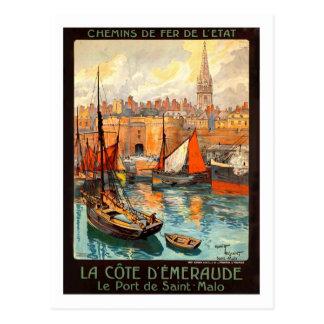 Het vintage Poster van de Reis, Heilige Malo Briefkaart