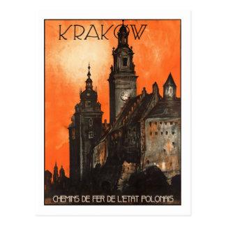 Het vintage Poster van de Reis, Krakau Briefkaart
