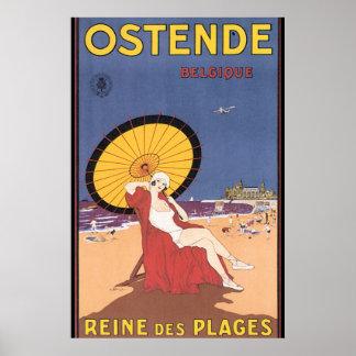 Het Vintage Poster van de Reis ostende-Belgique