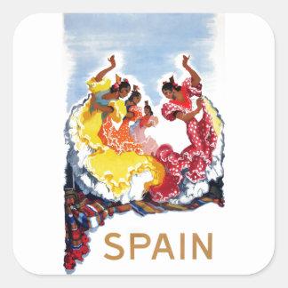Het vintage Poster van de Reis van de Dansers van Vierkante Sticker