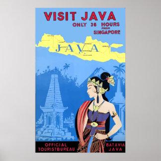 Het vintage Poster van de Reis van Java van het