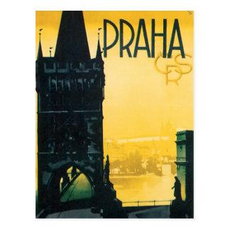 Het vintage Poster van de Reis van Praag (Praha) Briefkaart