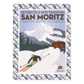 Het vintage Poster van de Ski, KuifButte van San Briefkaart