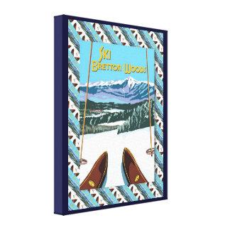 Het vintage poster van de Ski, Ski Bretton Woods Canvas Afdruk