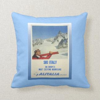 Het vintage Poster van de Ski, Ski Italië, Sierkussen