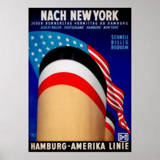 Het vintage Poster van het Schip van Hamburg Ameri