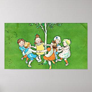 Het vintage poster van Kinderen, het speelse