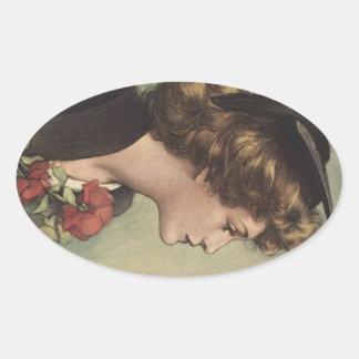 Het vintage Profiel van de Vrouw van de Toga van Ovaalvormige Sticker