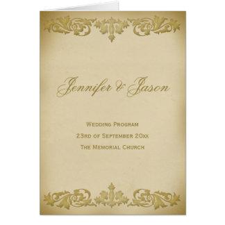 Het vintage Programma van het Huwelijk van de Wenskaart