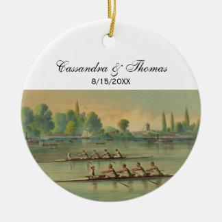 Het vintage Ras van de Boot van het Ras van de Rond Keramisch Ornament