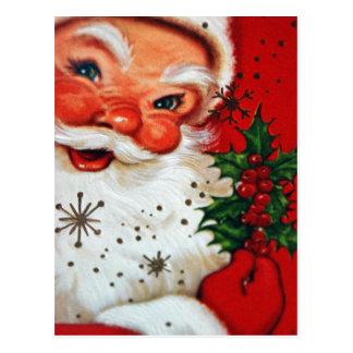 Het vintage retro briefkaart van de Kerstman van