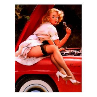 Het vintage Retro Meisje Pinup van de Auto van Gil Briefkaart