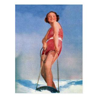 Het vintage Retro Ski?en Boogie van het Water van Briefkaart