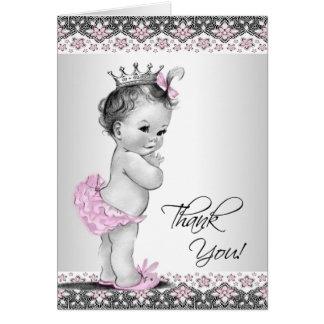Het vintage Roze Baby shower van de Prinses dankt Briefkaarten 0